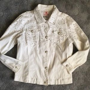 "Pearl and Rhinestone Stretch ""Jeanne"" Jacket White"
